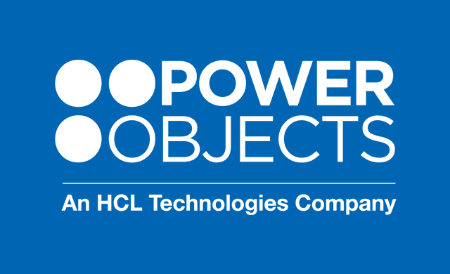 PowerObjects Logo C Color on blue