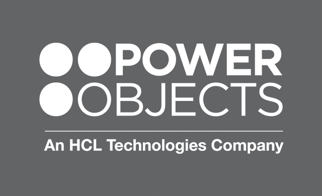 PowerObjects Logo D Color on 75% black
