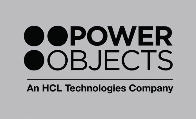 PowerObjects Logo E Color on 33% black